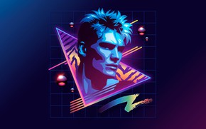 Picture neon, 80s, neon, Dolph Lundgren, Dolph Lundgren, 80s neon style