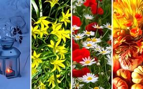 Wallpaper rendering, winter, collage, seasons, figure, summer, autumn, spring
