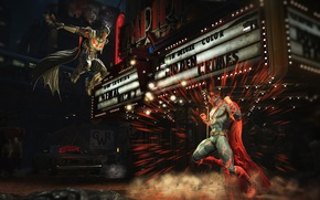 Picture city, battlefield, game, Batman, fight, bat, Superman, hero, DC Comics, Bruce Wayne, Injustice, yuusha, Kal-El, …