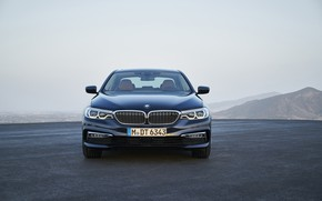 Picture the sky, BMW, sedan, front view, xDrive, 530d, Luxury Line, 5, dark blue, four-door, 2017, …