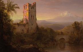 Wallpaper landscape, Frederic Edwin Church, bridge, tower, The Chimborazo Volcano, picture, mountain