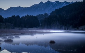 Picture forest, mountains, nature, lake, the evening