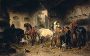 Picture oil, picture, canvas, The interior of the Barn with the Horses and People, Wouterus Verschuur