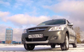 Picture winter, the sky, clouds, tower, rus, Lada Largus