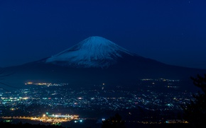 Picture night, the city, lights, mountain, the volcano