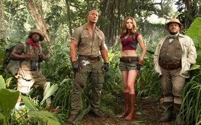 Picture cinema, girl, hat, jungle, tree, movie, tatoo, film, Jack Black, Karen Gillan, Kevin Hart, Jumanji, ...
