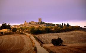 Picture twilight, tower, sunset, dusk, Spain, Catalonia, farmland, Segarra