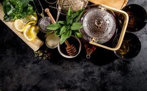 Picture kettle, Board, tea, mint