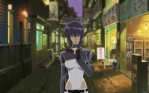 Picture girl, street, glasses, lane, Ghost in the Shell, purple hair, The Fireworks Kusanagi, Motoko Kusanagi, …