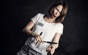 Picture girl, mood, knife