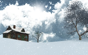 Wallpaper winter, the sky, the sun, clouds, snow, trees, landscape, snowflakes, house, graphics, 3D