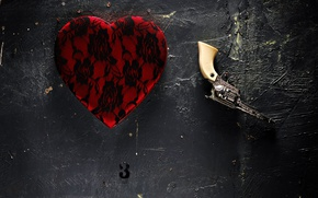 Picture wall, and this is not a gun, This is not a heart, background, things
