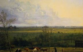 Picture landscape, picture, Pieter Gerardus van OS, Views of the Meadows near the village of Graveland