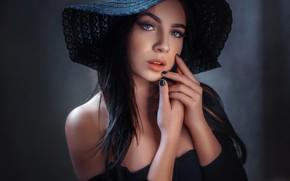 Picture look, face, model, portrait, hat, hands, Angelina, Alexander Drobkov-Dark