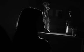 Picture girl, bottle, cigarette