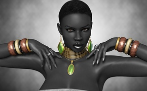 Picture Afro, girl, black, ring, decoration, bracelets, rendering, hands