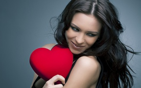 Picture girl, smile, background, red, makeup, brunette, hairstyle, heart, Valentine's day, in black
