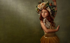 Picture flowers, pose, background, mood, girl, freckles, red, ballerina, redhead