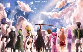 Wallpaper sword, sky, anime, cloud, katana, man, ken, blade, hero, asian, manga, japanese, oriental, asiatic, powerful, ...