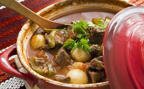 Picture spoon, meat, pan, vegetables, potatoes, hot