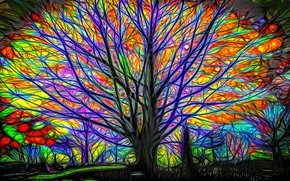 Picture night, rendering, tree, branch, glow, picture, fairy forest, the game of color, drawing on glass