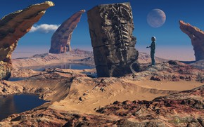 Picture planet, cloud, pond, monolith, The Red Planet