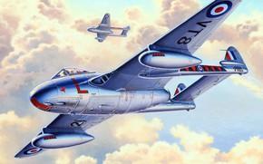 Picture Vampire, RAF, De Havilland, British jet fighter, DH.100, Royal air force UK