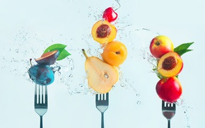 Picture cherry, pear, fruit, peaches, fork, drain, Making fruit salad