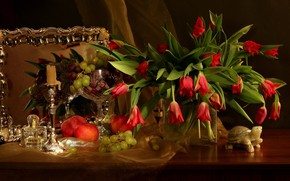 Picture flowers, table, apples, candle, bouquet, mirror, grapes, tulips, red, vase, still life, tablecloth, garnet