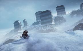 Picture gun, game, blizzard, weapon, Battlefield, snow, man, rifle, Battlefield 4, snowmobile, montain, Battlefield IV
