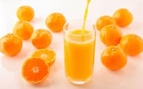 Wallpaper glass, yellow, fruit, jet, bokeh, tangerines, citrus, juice, orange