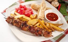 Picture meat, ketchup, kebab, potatoes, pita
