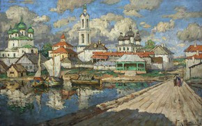 Picture bridge, picture, Church, the urban landscape, Konstantin Gorbatov, The view of the Old Town