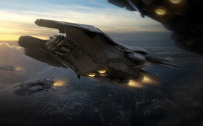 Picture clouds, flight, aircraft, Space Ship