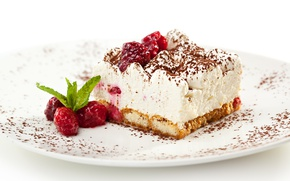 Picture raspberry, cake, cream, tiramisu