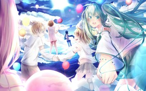 Picture the sky, balls, children, anime, art, Vocaloid, Vocaloid, characters, balloons