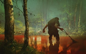 Picture forest, fishing, man, pond, Fredrikstad Cinema wall poster