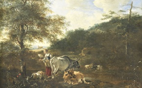 Picture animals, tree, oil, cow, Landscape with Cattle, Adam Pinker