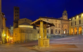 Picture night, lights, tower, area, well, Italy, Tuscany, Arezzo