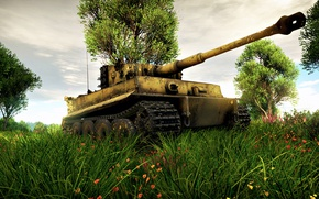 Picture The sky, Grass, The game, Tiger, War, Weapons, Art, Tank, Tiger, War Thunder