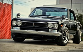 Picture Auto, Black, Machine, Classic, Nissan, Lights, Car, 2000, Skyline, Nissan Skyline, 2000GT, Japanese, 2000GT-R, 2000 ...