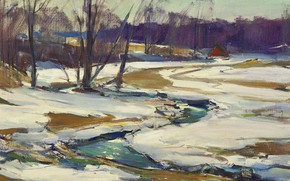 Picture landscape, nature, picture, impressionism, Stream and Melting Snow, Carl William Peters