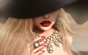 Wallpaper face, lipstick, lips, girl, decoration, hat