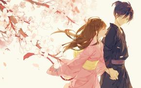 Picture branches, spring, Sakura, blue eyes, two, yukata, A Homeless God, Yato, Noragami, If That Wait