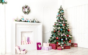 Picture holiday, gift, balls, tree, gifts, New year, fireplace, Christmas decorations, herringbone, New Year