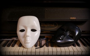 Picture background, piano, mask