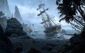 Picture rendering, ship, the crash, Bay, art, history, Sergey Avtushenko, Unexplored coast