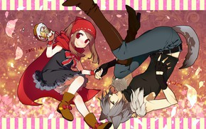 Picture romance, wolf, little red riding hood, anime, art, dooe
