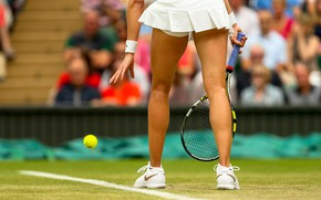 Picture the ball, tennis player, racket, court, Eugenie Bouchard