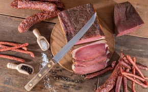 Picture knife, meat, Board, sausage, bacon, spices, meat, sausage, ham
